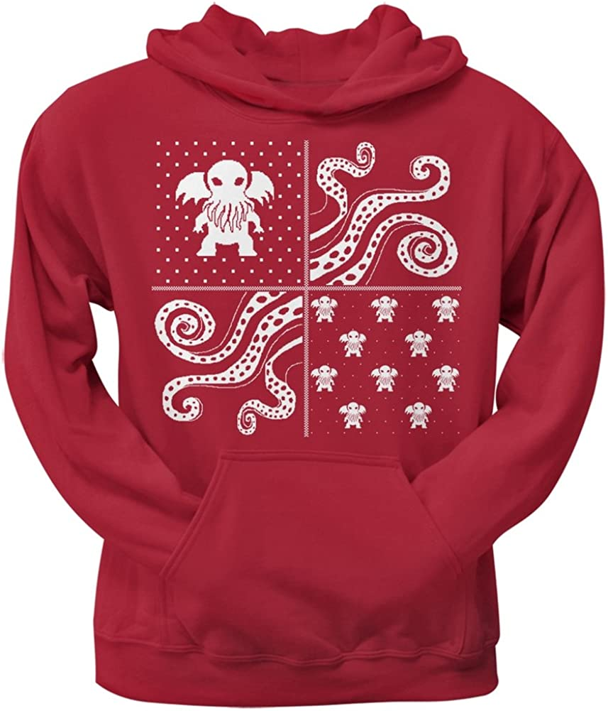 Cthulhu Lovecraft Dimensions Ugly Christmas Sweater Red Adult Pullover Hoodie