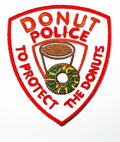 DONUT POLICE words funny patch Embroidered Iron on Hat Jacket Hoodie Backpack Ideal for Gift / 7.7cm(w) X 8.9cm(h) (Donut Patch)