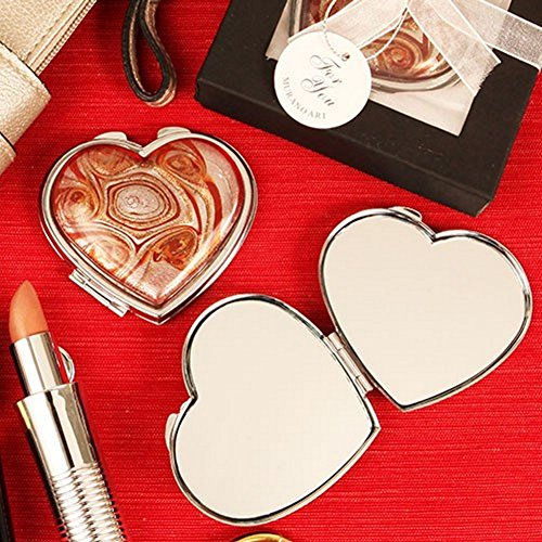 Vibrant Swirl Arte Murano Heart Shaped Glass Hand Mirror - Set of 12