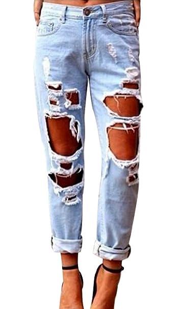 daa78c7f05f Amazon.com: Popbop Women's Skinny Faded Ripped Casual Slim Denim ...
