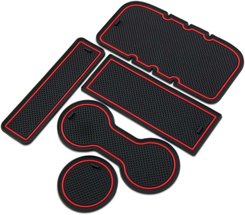 VCiiC Custom Fit Interior Cup Holder Inserts Door Liner Accessories for Toyota Tacoma 2005-2015 5-pc Set Red Trim
