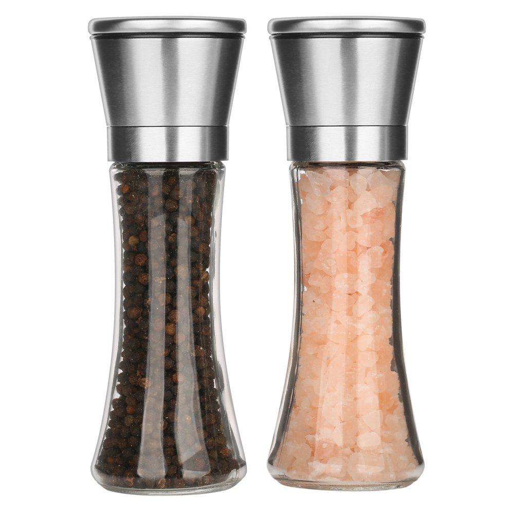 PK-STAR [Set of 2] Premium Stainless Steel Salt and Pepper Grinder Set 5-Grade Adjustable Ceramic Rotor 7.5 Clear Glass Body- Pepper Grinder Mill