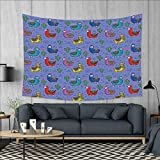 smallbeefly Llama Wall Tapestry Cartoon Style Furry Animals with Mexican Folk Details Triangle and Cactus Kids Design Home Decorations for Living Room Bedroom 80''x60'' Multicolor