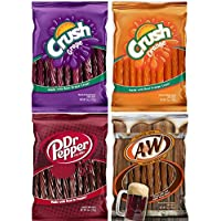 Orange, Grape Crush, Dr. Pepper & A&W Root Beer Licorice, Twists Assortment - (4 Packs) by YANKEETRADERS