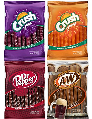 Orange, Grape Crush, Dr. Pepper & A&W Root Beer Licorice, Twists Assortment - (4 Packs)