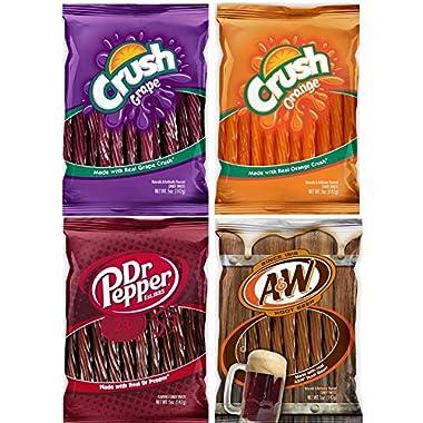 Orange, Grape Crush, Dr. Pepper & A&W Licorice Twists Assortment - (4 Packs)