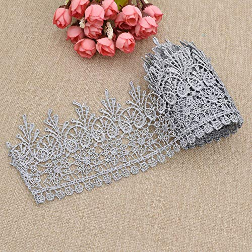 (2 Yards Embroidered Lace Edge Trim Wedding Ribbon Applique Sewing Craft DIY (Color - Grey))