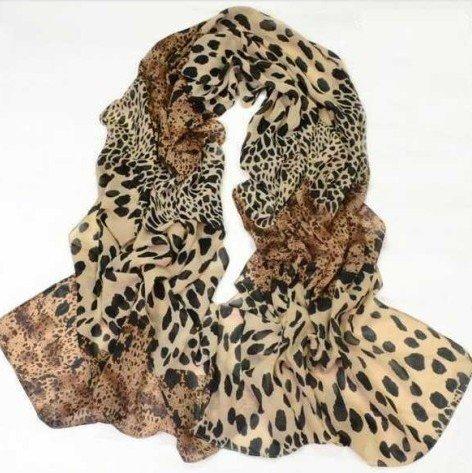 Splicing Design - HuaYang Star Favorite Leopard Panther Print Splicing Design Chiffon Soft Pashmina Scarf Shawl()