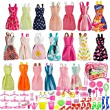 SUNLALA Total 80pcs - 20Pack Clothes Party Gown Outfits for barbie dolls+ 60pcs Dolls Accessories Shoes Bags Necklace Mirror Hanger Tableware