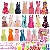 (US) SUNLALA Total 80pcs - 20Pack Clothes Party Gown Outfits for barbie dolls+ 60pcs Dolls Accessories Shoes Bags Necklace Mirror Hanger Tableware