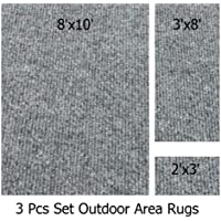 Indoor-Outdoor Misty, 3 Piece Set, Patio Rugs (8x10 Area Rug, 3x8 Runner, 2x3 Mat)