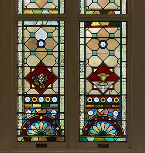 (Photograph  Stained glass windows at the historic Kahal Kadosh Beth Elohim synagogue, known locally and affectionately as