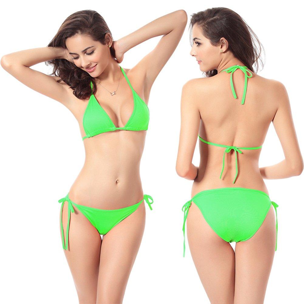 Women\'s Tie Side Bikini Swimsuit Triangle Bikinis Bottom Set