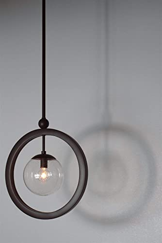 Kira Home Lucia 14.5″ Modern Ring Pendant Light Seeded Glass Orb/Globe