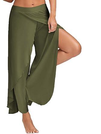 19205f9c9b409 Minetom Casual Pantalons Jambe Large Pour Femme Epurée Fendue Grande Taille  Jupe-Culotte Bouffant Elastique
