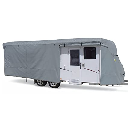 4 Layer Polypropylene Fabric for Whole Cover Summates Travel Trailer Cover RV Cover,Color Gray fits Most Sizes Fits 22-24ft Travel Trailer, Gray