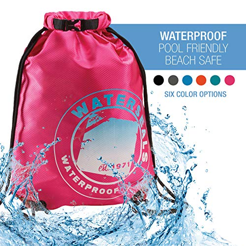 Lewis N. Clark WaterSeals Cinch Drawstring Backpack with Ripstop Waterproof Material to Protect Wallet, iPhone and Valuables at The Beach, Pool + Camping, - Ripstop Drawstring