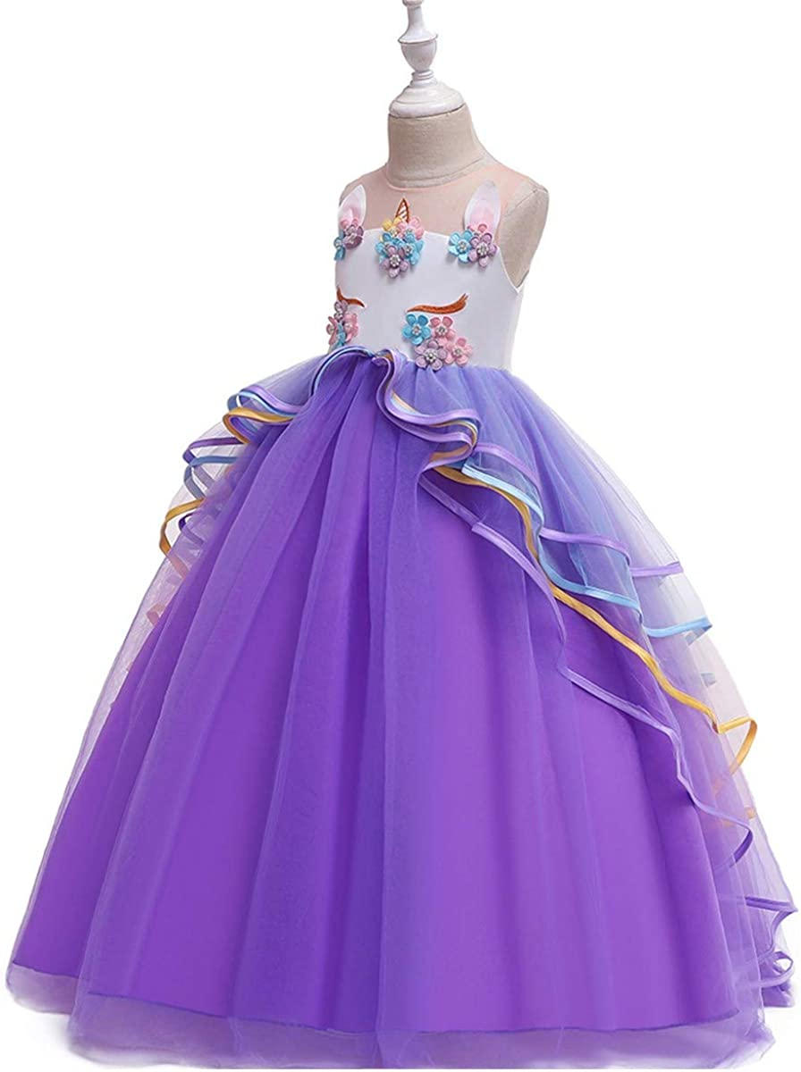 MYRISAM Girls Unicorn Rainbow Long Tulle Dress Wedding Birthday Princess Carnival Party Performance Dance Pageant Ball Gowns