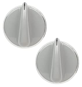 Lifetime Appliance 2 x WH01X10462 Control Knob for General Electric Dryer (Grey)