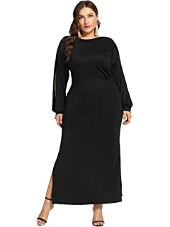 68417b861c ESPRLIA Women s Empire Waist Long Sleeve Plus Size Maxi Casual Cocktail  Dresses