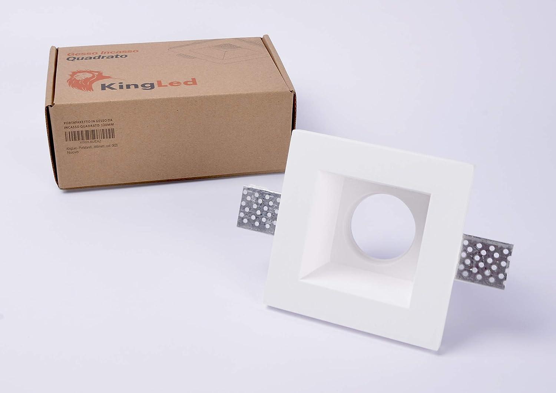 Dimensiones 120x120x64mm Cod Foco empotrable en yeso Ceramic Square Tall para Spotlight Gu10 y Mr16 KingLed 0628
