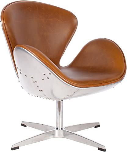 Hand Hammered Aviator Aluminum Mid Century Modern Classic Arne Jacobsen Style Swan Replica Chair with Premium Vintage Caramel Brown PU Leather and Stainless Steel Frame
