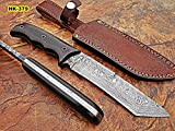 REG-Hk-379, Handmade Full Tang Damascus Steel 11 Inches Tactical Knife – Perfect Grip Black Brown Canvas Micarta Handle For Sale