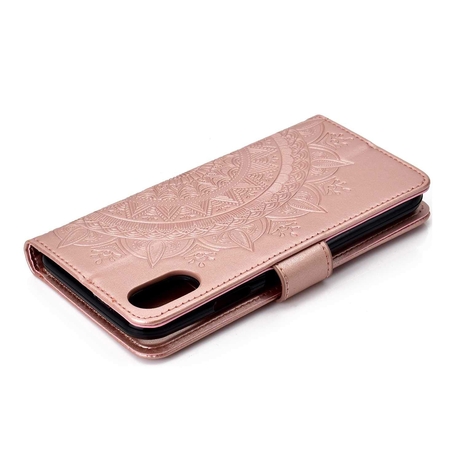 Case iPhone XR, Bear Village PU Leather Embossed Design Case with Card Holder and ID Slot, Wallet Flip Stand Cover for Apple iPhone XR (#1 Rose Gold) by Bear Village (Image #6)