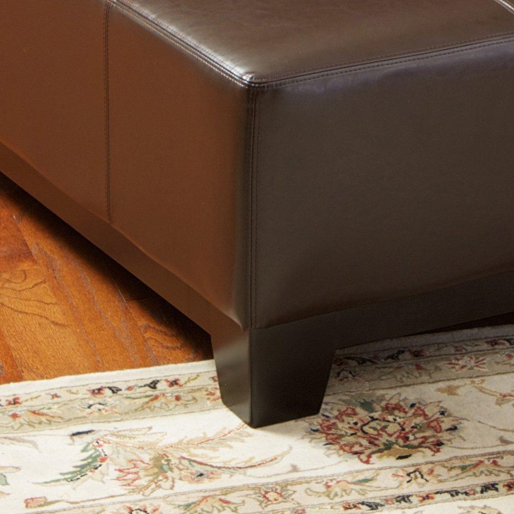 Brown leather ottoman - Brown Leather Ottoman 29