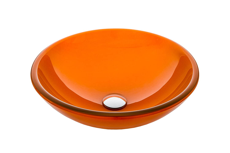 Jano Jgv17 Orange Clear Tempered Glass Vessel Bathroom