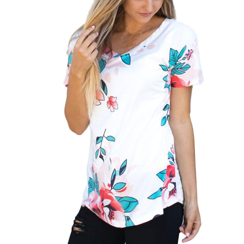 PARVAL Camiseta de Manga Corta para Mujer con Corbata Verano para ...