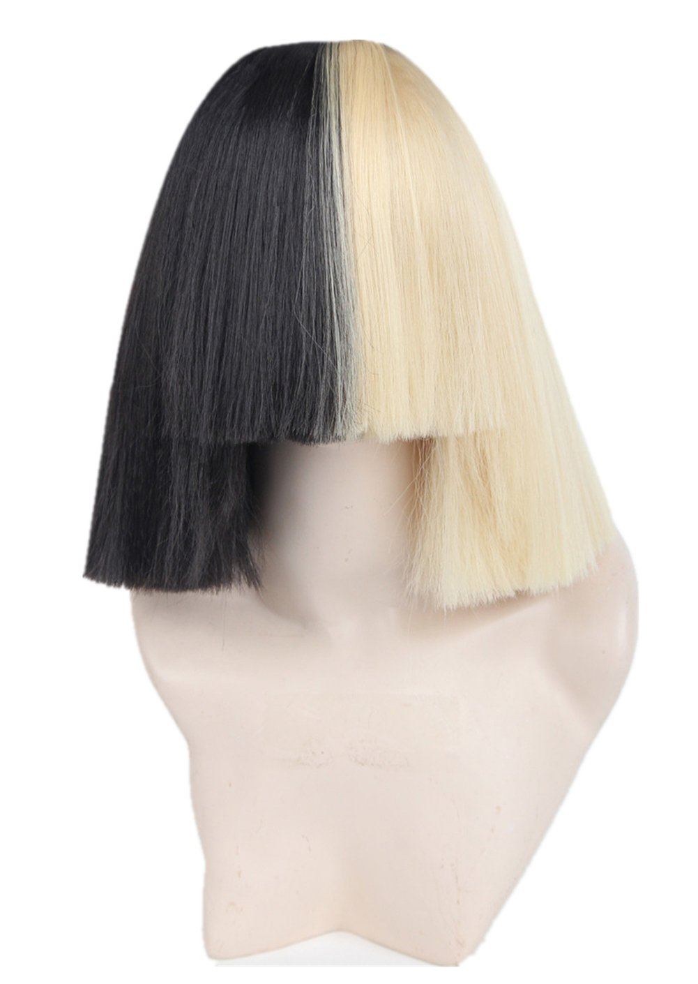 Half Blonde and Black 2 Tone Hair Short Straight Cosplay Costume Wig for Women (only wig) Topcosplay