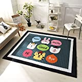 Cartoon Baby Rugs Cotton 100% - Epson Dying 15mm Thick Bedroom Children Room Crawling Rugs Game/Play Rugs Christmas Gifts 57 X 77 Inch