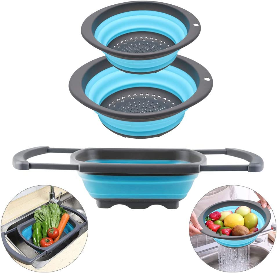 QiMH Collapsible Colander Set of 3-1pc 6 Quart Over the Sink Silicone Strainer - 2pc 4 Quart Folding Strainers - Dishwasher Safe