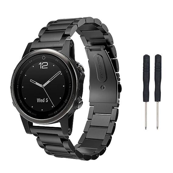 ✿ para Garmin Fenix 5S GPS Watch, Pulsera de Reloj de Acero Inoxidable Band Band Band Band Absolute: Amazon.es: Ropa y accesorios