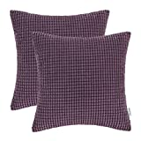 Purple Throw Pillows Pack of 2, CaliTime Throw Pillow Covers Cases for Couch Sofa Bed, Comfortable Supersoft Corduroy Corn Striped Both Sides, 18 X 18 Inches, Deep Purple