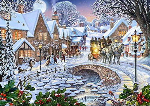 Village Christmas Christmas Cards - Box of 15 Christmas Cards & 16 Foil Lined Envelopes