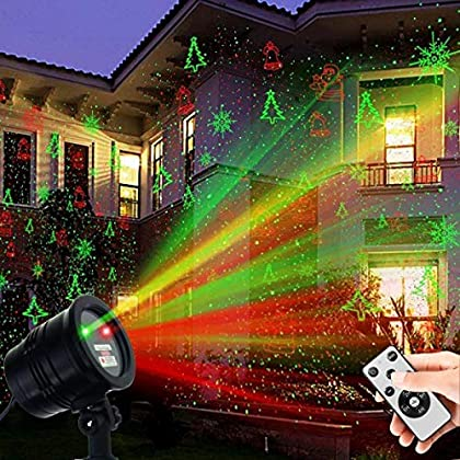 Christmas Laser Lights, YINUO LIGHT Waterproof Projector Lights Landscape Spotlight Red and Green Star Show with…