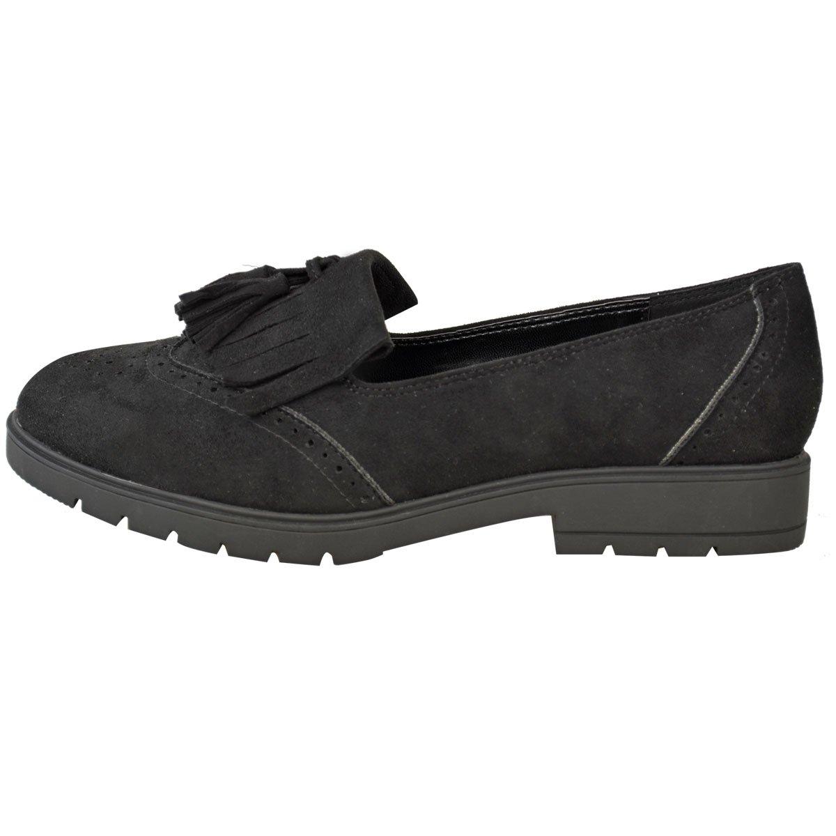 Plano Mujer Informal Zapatos Oxford Oficina con Flecos Mocasines Zapatos de Colegio Talla - Negro Ante Artificial/Negro Suela, 41: Amazon.es: Zapatos y ...