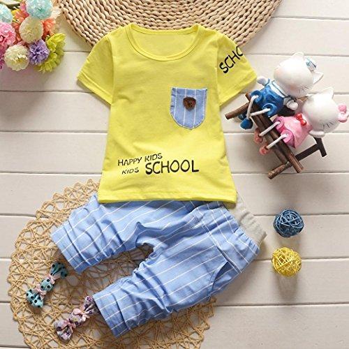 Prevently Baby Jungen Mädchen Brief Streifen Gedruckt Tasche 2 Stücke Set Outfits Kleidung Kurzarm T-Shirt Tops + Kurze Hosen Gelb