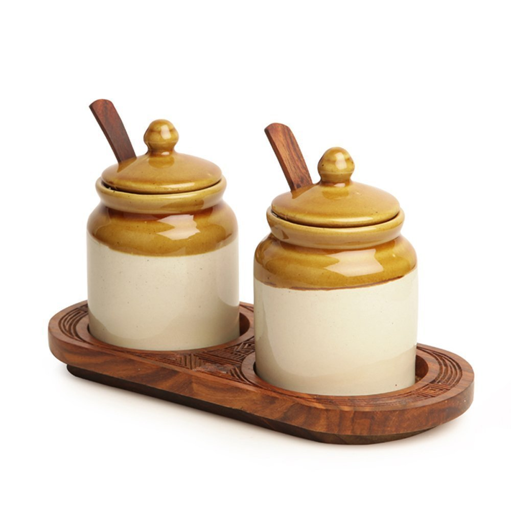 ExclusiveLane Old Fashioned Ceramic Jars With Hand Carved Tray -Condiment Containers Storage Containers Spice Jars Decorative Tray Jars With Lids Masala Dabba Ancient Cookware by ExclusiveLane (Image #2)