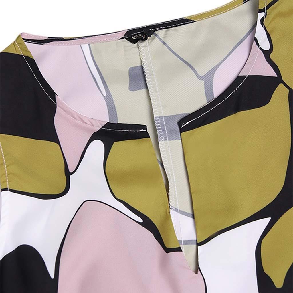 Usstore  Women/'s Maxi Dress V-Neck Straight Irregular Printed Summer Casual Sleeveless Baggy Kaftan Beach Trip Robe Dress