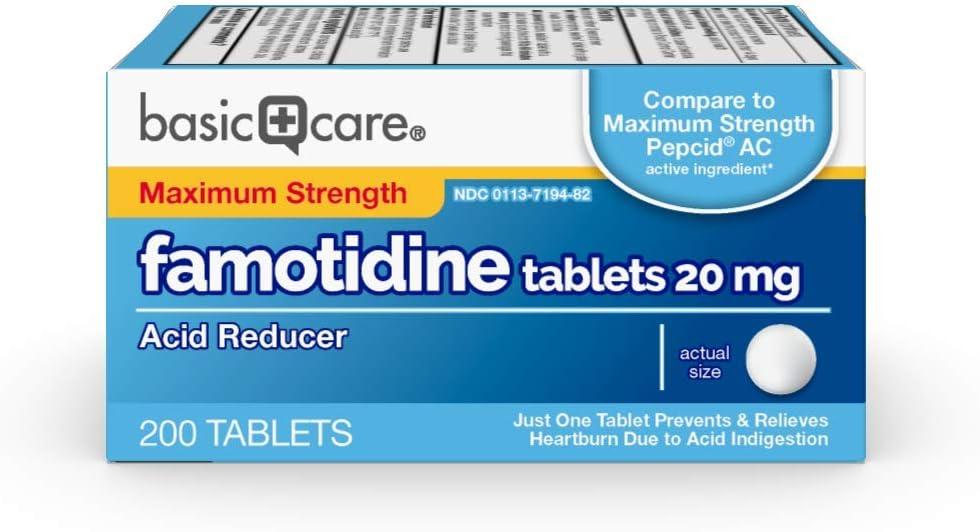 Basic Care Maximum Strength Famotidine Tablets200 Count