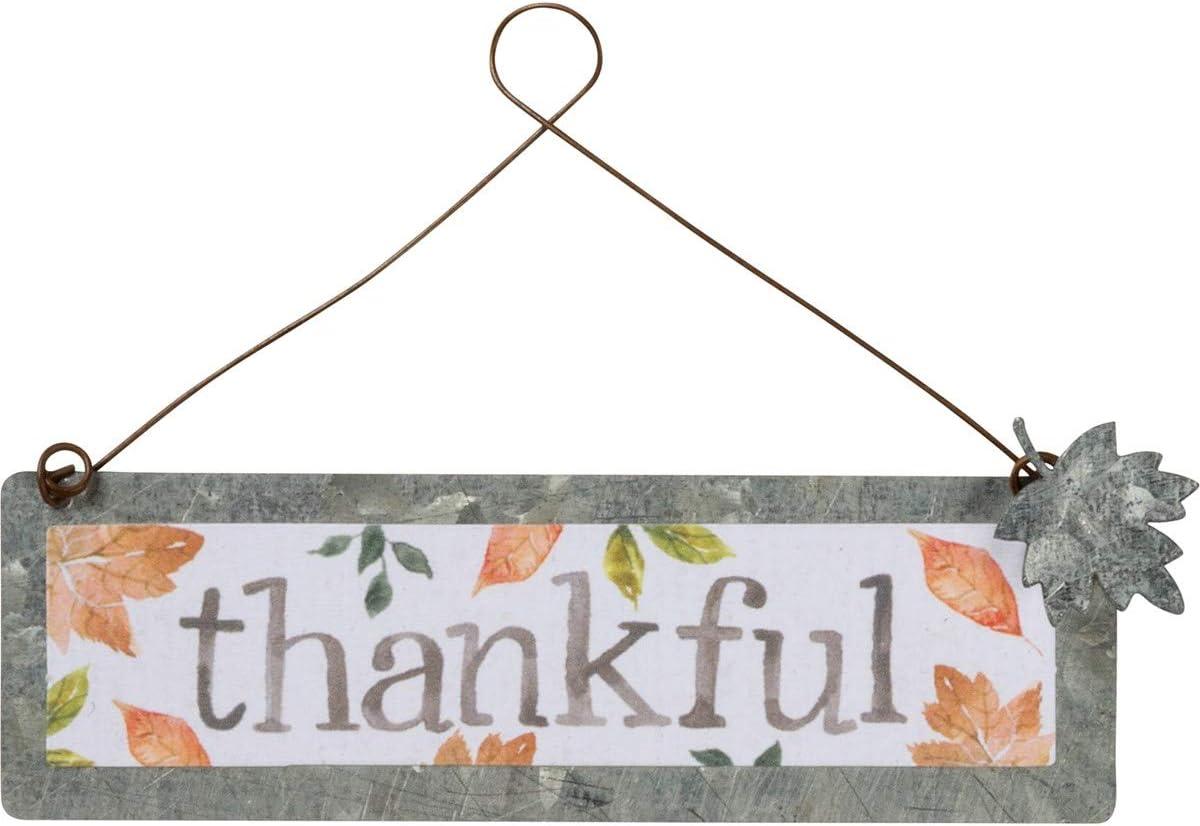 Primitives by Kathy PBK Fall Decor - Small Tin Ornament Sign Thankful