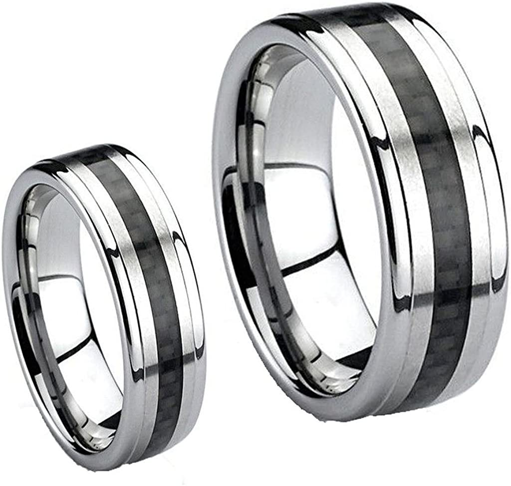 Mens /& Ladies 8mm//6mm Tungsten Carbide Wedding Band Ring Set//Black Carbon Fiber Inlay