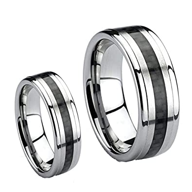 His Hers 8mm 6mm Tungsten Carbide Wedding Band Ring Set Black Carbon Fiber