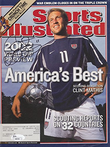 (CLINT MATHIS SIGNED SPORTS ILLUSTRATED COVER TEAM USA 2002 WORLD CUP SOCCER JSA)
