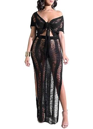 Amazon.com  Walmeck Sexy Women Two-Piece Set Sheer Knitted Crop Top ... 3110d87d9d711