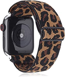 Elastic Watch Band Compatible with Apple Watch 38mm 40mm 42mm 44mm,Stretch Elastics Wristbelt Replacement Wristband for iWatch Series 5/4/3/2/1(Dark Leopard,38MM/40MM)