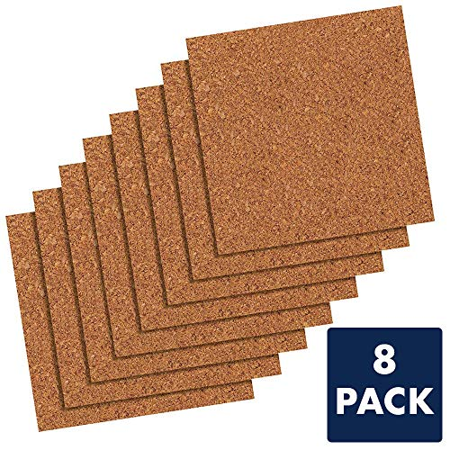 "Quartet Cork Tiles, Cork Board, 12"" x 12"", Corkboard, Wall Bulletin Boards, Natural, 8 Pack (108)"